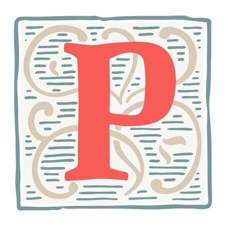 Renaissance P letter logo in classic vintage colors. Roman typeface, vector premium design template elements for identity, package, book, diploma, etc.