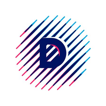 D letter icon on sloping fast speed lines inside a circle. Vector elements for sportswear, t-shirt, banner, car, labels or posters.