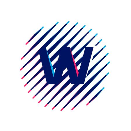 W letter icon on sloping fast speed lines inside a circle. Vector elements for sportswear, t-shirt, banner, car, labels or posters. 矢量图像