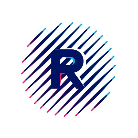 R letter icon on sloping fast speed lines inside a circle. Vector elements for sportswear, t-shirt, banner, car, labels or posters.