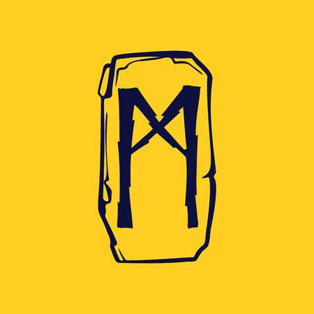 Runic M letter icon from lightnings on fragments of stones. Scandinavian occult symbol, black stamping on the gold background.