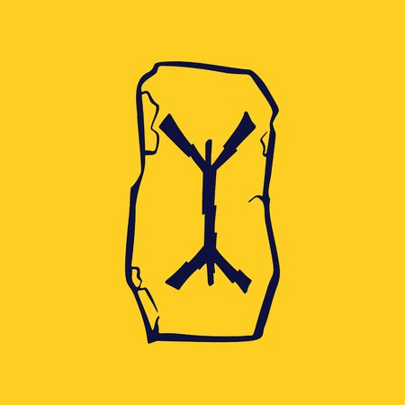 Runic X letter icon from lightnings on fragments of stones. Scandinavian occult symbol, black stamping on the gold background.