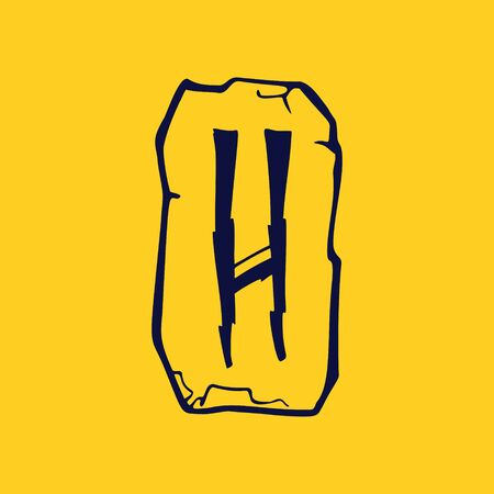 Runic H letter icon from lightnings on fragments of stones. Scandinavian occult symbol, black stamping on the gold background.