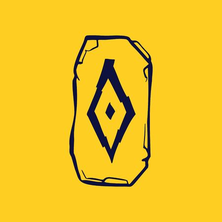 Runic O letter icon from lightnings on fragments of stones. Scandinavian occult symbol, black stamping on the gold background.