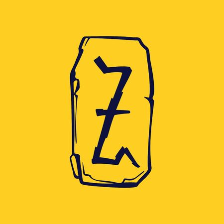 Runic Z letter icon from lightnings on fragments of stones. Scandinavian occult symbol, black stamping on the gold background.