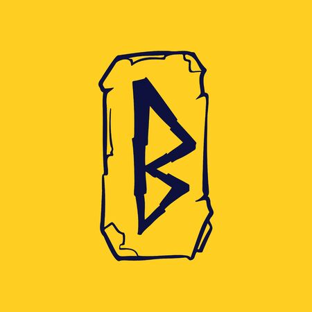 Runic B letter icon from lightnings on fragments of stones. Scandinavian occult symbol, black stamping on the gold background. Illustration