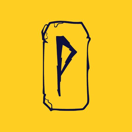 Runic P letter icon from lightnings on fragments of stones. Scandinavian occult symbol, black stamping on the gold background. Illustration