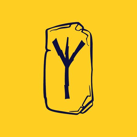 Runic Y letter icon from lightnings on fragments of stones. Scandinavian occult symbol, black stamping on the gold background.