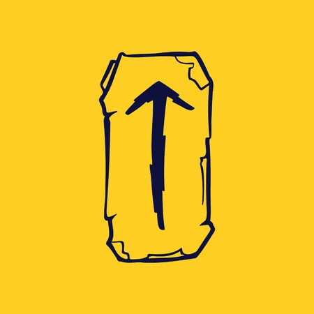 Runic T letter icon from lightnings on fragments of stones. Scandinavian occult symbol, black stamping on the gold background. Illustration