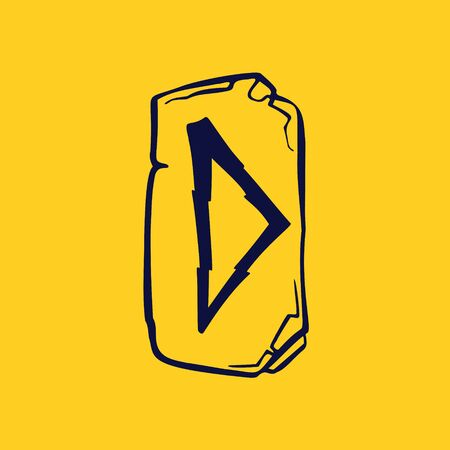 Runic D letter icon from lightnings on fragments of stones. Scandinavian occult symbol, black stamping on the gold background.