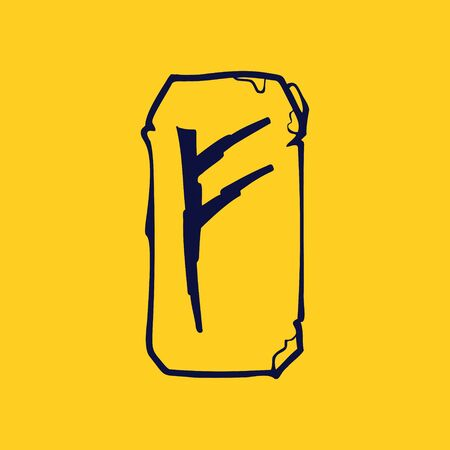 Runic F letter icon from lightnings on fragments of stones. Scandinavian occult symbol, black stamping on the gold background. Illustration