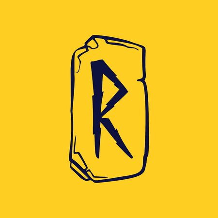 Runic R letter icon from lightnings on fragments of stones. Scandinavian occult symbol, black stamping on the gold background.