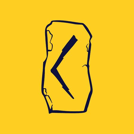 Runic C letter icon from lightnings on fragments of stones. Scandinavian occult symbol, black stamping on the gold background.