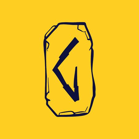 Runic G letter icon from lightnings on fragments of stones. Scandinavian occult symbol, black stamping on the gold background.