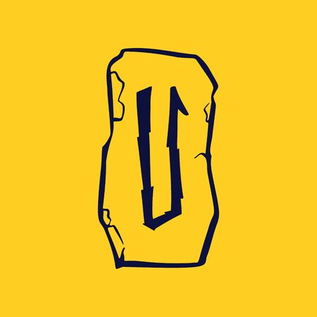 Runic U letter icon from lightnings on fragments of stones. Scandinavian occult symbol, black stamping on the gold background.