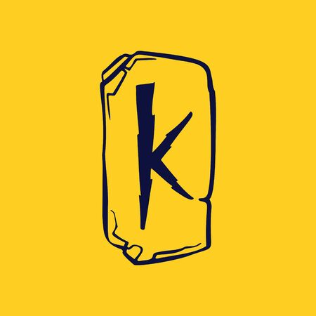 Runic K letter icon from lightnings on fragments of stones. Scandinavian occult symbol, black stamping on the gold background.