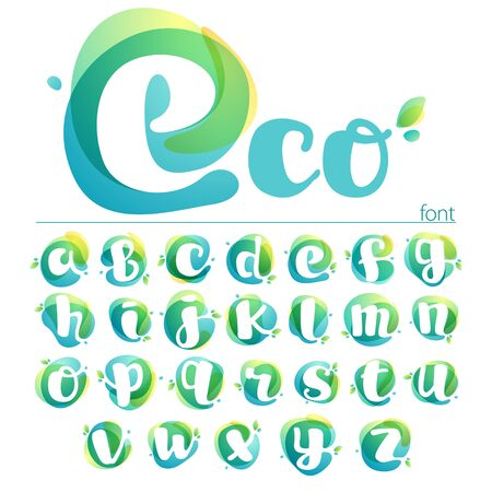Ecology lowercase alphabet. Overlapping watercolor font with green leaves. Vector green template can be used for vegan, bio, raw, organic.