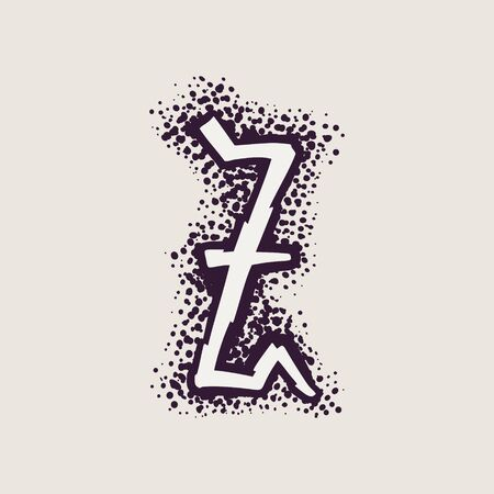 Letter Z rune icon on the dots background. Nordic occult symbol for identity, package, book, diploma, etc.