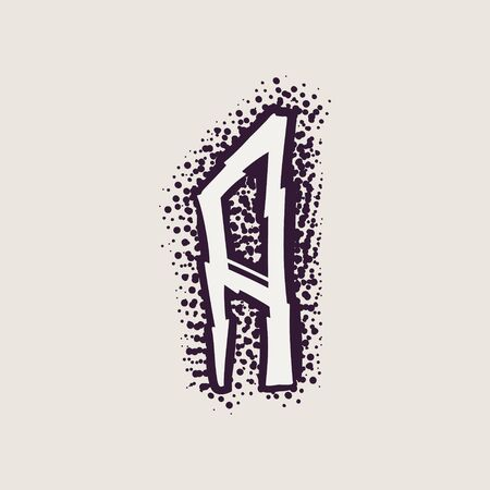 Letter A rune icon on the dots background. Nordic occult symbol for identity, package, book, diploma, etc. Illustration