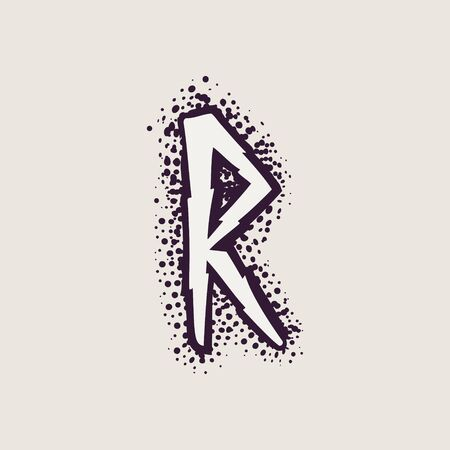Letter R rune icon on the dots background. Nordic occult symbol for identity, package, book, diploma, etc. Illustration