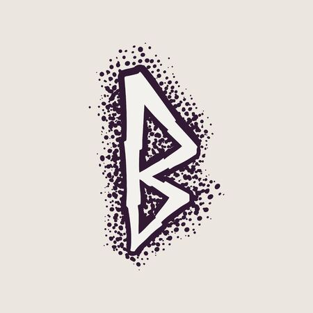 Letter B rune icon on the dots background. Nordic occult symbol for identity, package, book, diploma, etc.