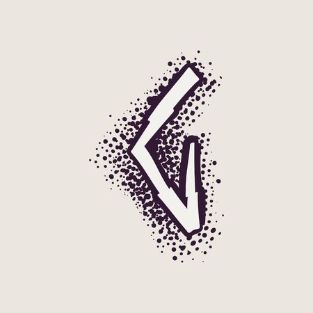Letter G rune icon on the dots background. Nordic occult symbol for identity, package, book, diploma, etc. Illustration
