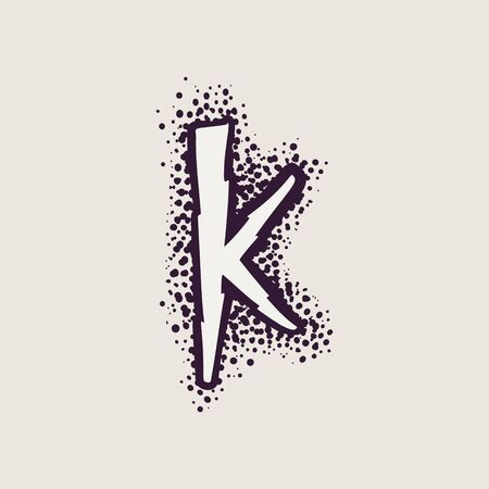 Letter K rune icon on the dots background. Nordic occult symbol for identity, package, book, diploma, etc.