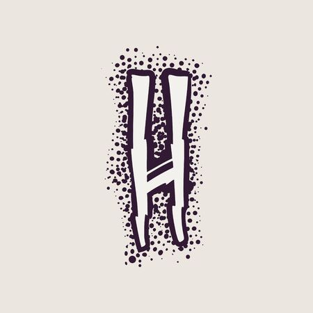 Letter H rune icon on the dots background. Nordic occult symbol for identity, package, book, diploma, etc.