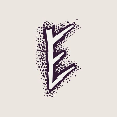 Letter E rune icon on the dots background. Nordic occult symbol for identity, package, book, diploma, etc.