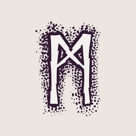 Letter M rune icon on the dots background. Nordic occult symbol for identity, package, book, diploma, etc.