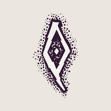 Letter Q rune icon on the dots background. Nordic occult symbol for identity, package, book, diploma, etc.