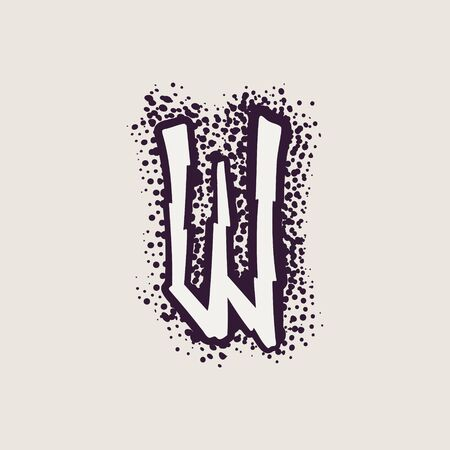 Letter W rune icon on the dots background. Nordic occult symbol for identity, package, book, diploma, etc.