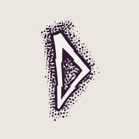 Letter D rune icon on the dots background. Nordic occult symbol for identity, package, book, diploma, etc.