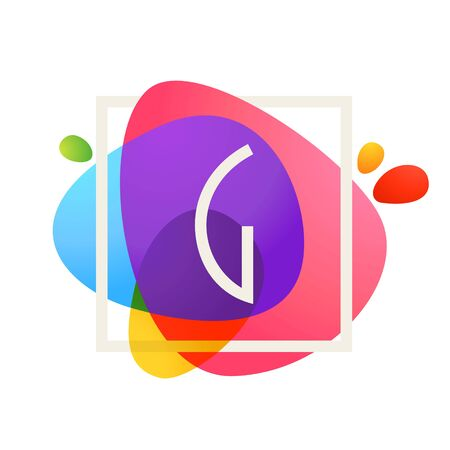 G letter logo in square frame at watercolor splash background. Color overlay style. Vector typeface for labels, headlines, posters, cards etc.