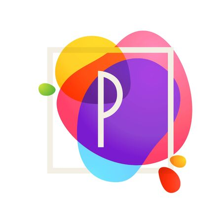 P letter logo in square frame at watercolor splash background. Color overlay style. Vector typeface for labels, headlines, posters, cards etc. Vectores