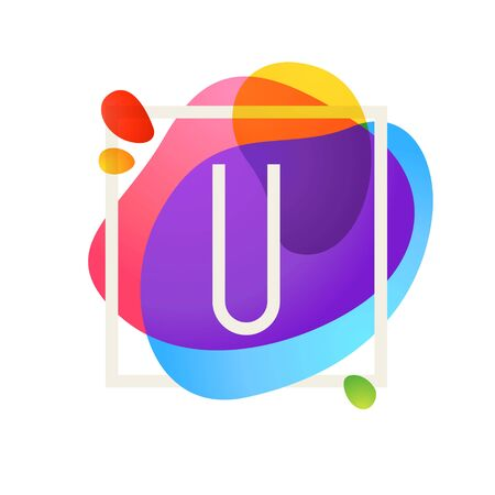 U letter logo in square frame at watercolor splash background. Color overlay style. Vector typeface for labels, headlines, posters, cards etc.