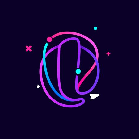 Lowercase l letter logo with planets, rocket and orbits lines. Vibrant lines vector template for science, biology, physics, chemistry design.