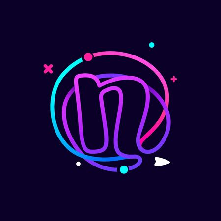 Lowercase n letter logo with planets, rocket and orbits lines. Vibrant lines vector template for science, biology, physics, chemistry design. Logó