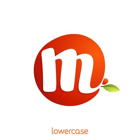 Lowercase letter m logo in fresh juice splash with green leaf. Vector elements can be used for natural company, ecology presentation, organic card or vegan cafe posters. Çizim