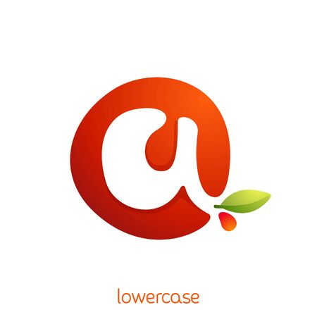 Lowercase letter a logo in fresh juice splash with green leaf. Vector elements can be used for natural company, ecology presentation, organic card or vegan cafe posters.