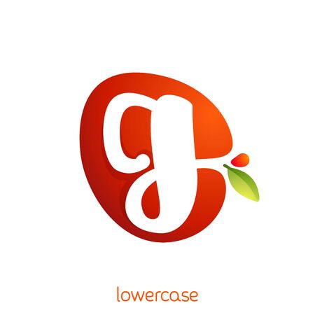 Lowercase letter g logo in fresh juice splash with green leaf. Vector elements can be used for natural company, ecology presentation, organic card or vegan cafe posters. Çizim