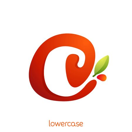 Lowercase letter c logo in fresh juice splash with green leaf. Vector elements can be used for natural company, ecology presentation, organic card or vegan cafe posters.