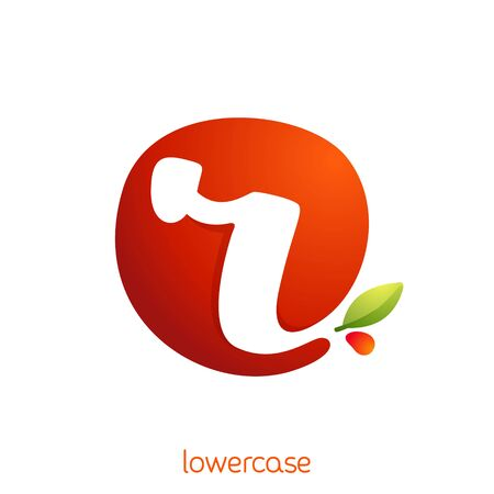 Lowercase letter r logo in fresh juice splash with green leaf. Vector elements can be used for natural company, ecology presentation, organic card or vegan cafe posters.