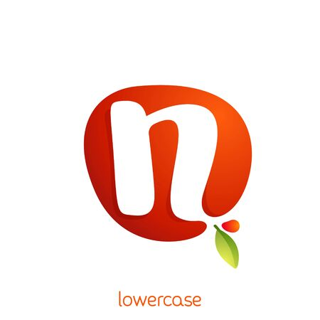 Lowercase letter n logo in fresh juice splash with green leaf. Vector elements can be used for natural company, ecology presentation, organic card or vegan cafe posters.