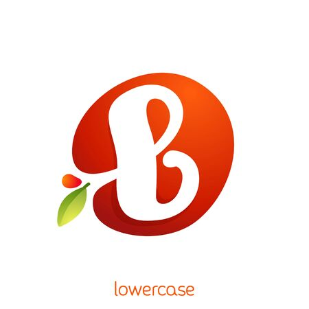Lowercase letter b logo in fresh juice splash with green leaf. Vector elements can be used for natural company, ecology presentation, organic card or vegan cafe posters.