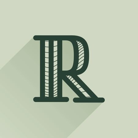 R letter logo in retro money style with line pattern and shadow. Vintage slab serif type for bank, bill, diploma, label and posters.