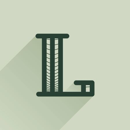 L letter logo in retro money style with line pattern and shadow. Vintage slab serif type for bank, bill, diploma, label and posters.