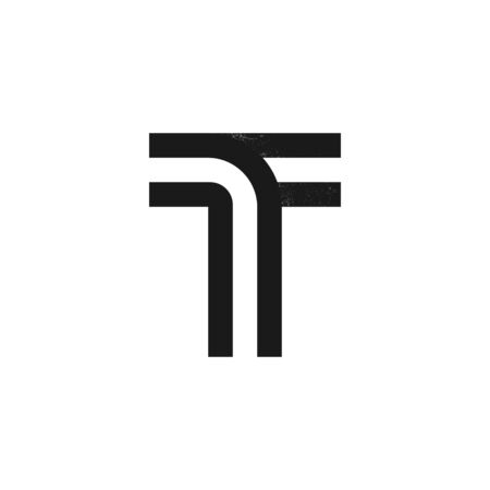 T letter logo formed by two parallel lines with noise texture. Vector black and white typeface for labels, headlines, posters, cards etc.