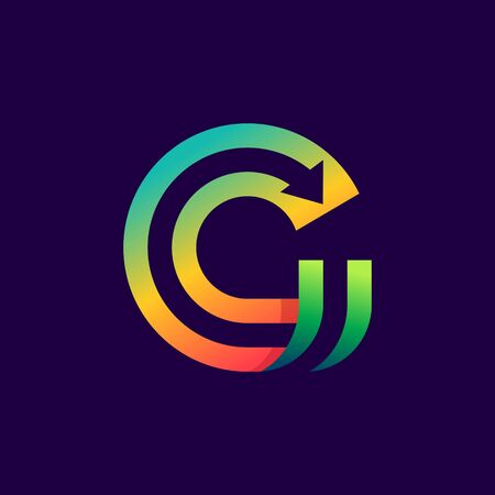 Letter G logo with arrow inside. Vector bright colours typeface for delivery labels, business headlines, finance posters, sport cards etc.