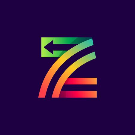 Letter Z logo with arrow inside. Vector bright colours typeface for delivery labels, business headlines, finance posters, sport cards etc.